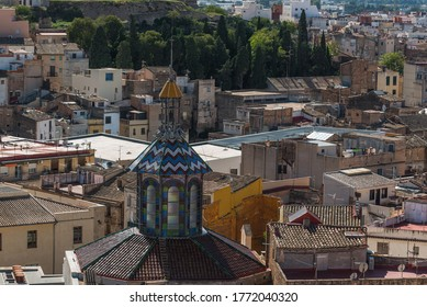 Tiled roof of a church building, Tortosa, Catalonia, Tarragona, Spain