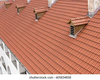 Tiled roof of a large building with attic outputs.