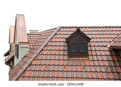 tiled roof of old-fashioned house isolated on white