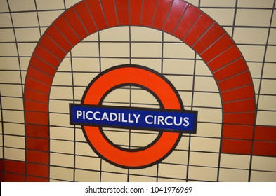 Tiled sign of Piccadilly Circus tube station - London, UK - 08/02/2015