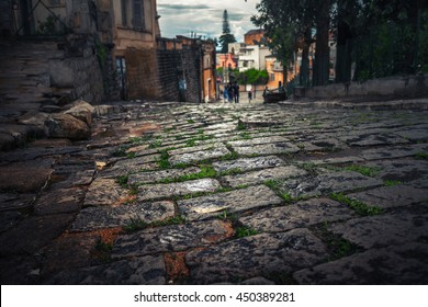 Tiled street in the city of Antananarivo, Madagascar