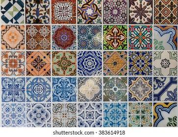 Tiles ceramic patterns from Lisbon, Portugal.