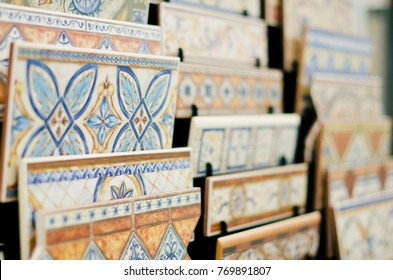 Tiles and ceramic in store stand ready for sale