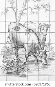 Tiles with cows in front of building, construction