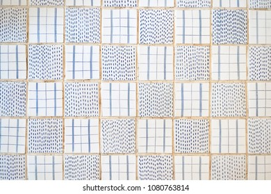 Tiles floor. Top view pattern of beautiful ceramic tiles floor in white and blue theme.