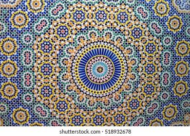 Tiles on the wall. Marrakech. Morocco