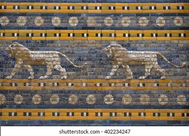 Tiles Pattern of Babylon's The Ishtar Gate inside The Pergamon Museum (Pergamonmuseum), Berlin, Germany - 6 Feb 2016: The museum is visited by approximately 1,135,000 people every year.