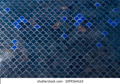 Tiles wall. The dark blue navy tiles wall with under the sea inspiration of fish scale pattern. Window light.