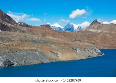 Tilicho Lake. Himalaya mountains in Nepal, Annapurna circuit trek