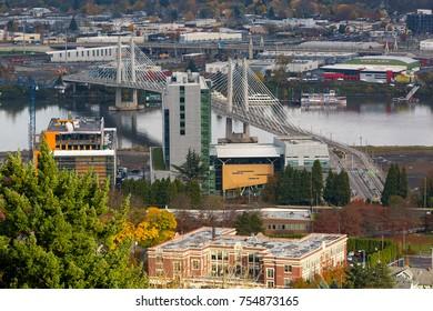 Tilikum Crossing Bridge of the People over Willamette River in Portland Oregon USA America
