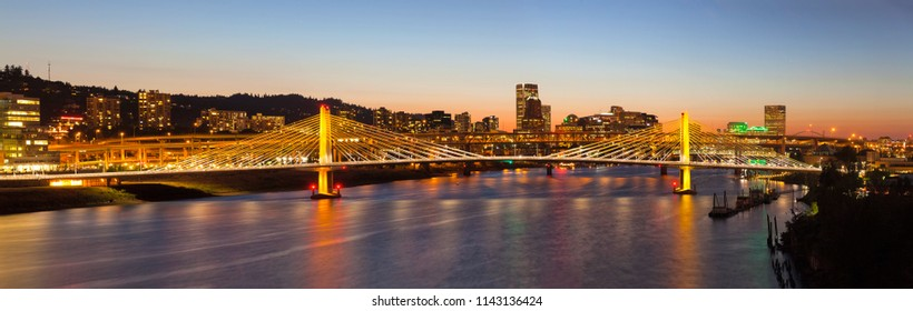Tilikum Crossing Bridge with Portland Oregon Downtown City Skyline at Dusk Panorama