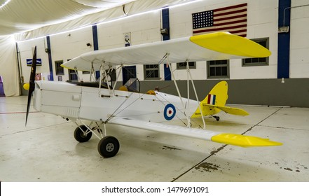 Tillamook, Oregon - 8/10/2019: The Fisher R-80 Tiger Moth is a Canadian two-seat, conventional landing gear, single engined, biplane kit aircraft designed for construction by amateur builders.