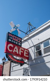 Tillamook, Oregon - August 1, 2020: The Dutch Mill Diner Cafe, a burger restaurant with a vintage neon sign in the downtown area