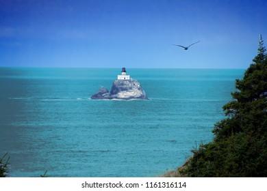 Tillamook Rock Lighthouse, isolated offshore from  Cannon Beach,   Oregon Coast