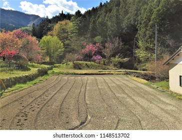 A tilled field at a farm in Shiroishi, Saitama, Japan