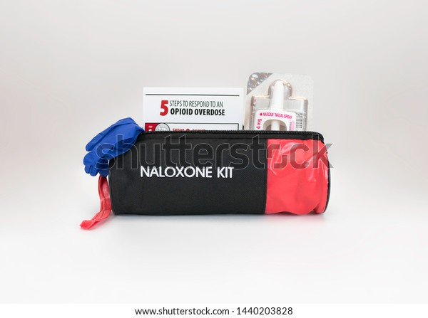 Tillsonburg, ON / Canada - July 1 2019 New Naloxone nasal delivery method of Narcan distributed by healthcare professionals to help combat opioid crisis and reverse the effects of opioid overdose.