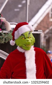 Tillsonburg, Ontario / Canada - November 17,  2018 :  Tillsonburg and Area Optimist Club Christmas Parade  showing  The Grinch.