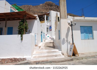 TILOS, GREECE - JUNE 16, 2018: The whitewashed buildings of Megalo Chorio on the Greek island of Tilos. The village is the Capital of the island which has a population of around 780 people.