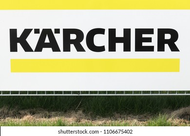 Tilst, Denmark - April 20, 2018: Karcher sign on a panel. Karcher is a German family-owned company that operates worldwide and is known for its high pressure cleaners floor care equipment