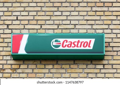Tilst, Denmark - May 10, 2018: Castrol logo on a wall. Castrol is a British global brand of industrial and automotive lubricants offering a wide range of oils and greases