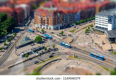 Tilt shift from above city view. Location: Gothenburg, Sweden