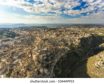 tilt shift aerial bird eye view of matera