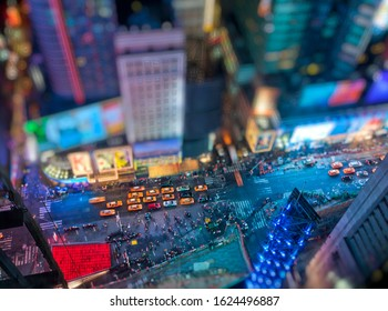 Tilt shift aerial view of Times Square in New York