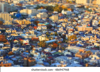 Tilt shift blur effect. view of the town