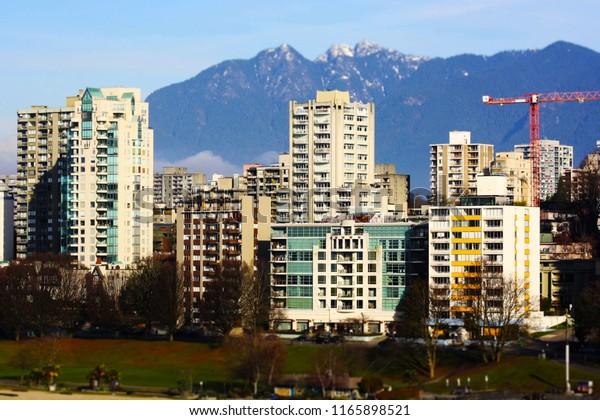 A tilt shift style photo of the Vancouver skyline