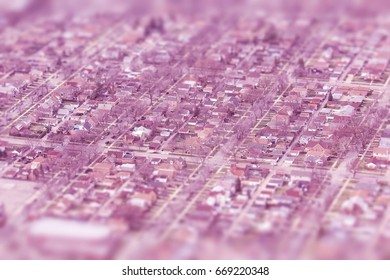 Tilt shift suburbia - aerial view of Chicago. Retro filtered colors.