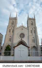 The tilted Church of St. Francis Xavier in Malacca, Malaysia.