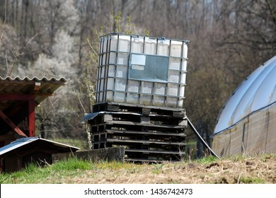 Tilted white intermediate bulk container or IBC plastic tank with metal cage put on top of wooden pallets in local garden to be used for water storage on warm sunny spring day
