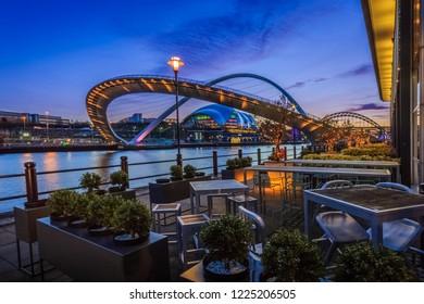 Tilting bridge on Newcastle's quayside, England