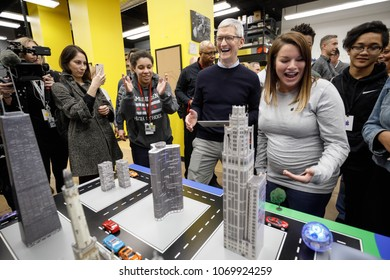Tim Cook, Chief Executive Officer of Apple Inc., torus a technology lab after the launch event for the iPad 6 at Lane Technical College Prep High School in Chicago, Illinois, U.S., March 27, 2018.