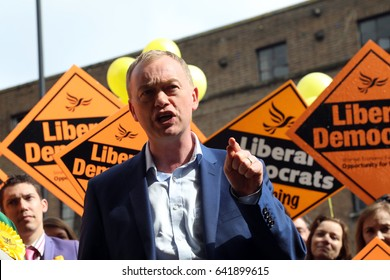 Tim Farron, leader of the Liberal Democrats, campaigning in Crouch End, north London, on 1 May 2017 in the UK general election