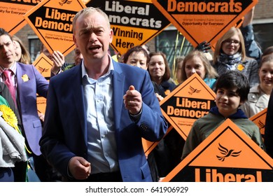 Tim Farron, leader of the Liberal Democrats, campaigning in Crouch End, north London, on 1 May 2017 in the UK general election.