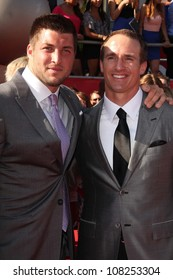 Tim Tebow, Drew Brees at the 2012 ESPY Awards Arrivals, Nokia Theatre, Los Angeles, CA 07-11-12