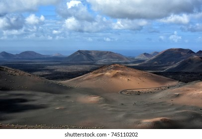 timanfaya national park on lanzarote canary island in spain