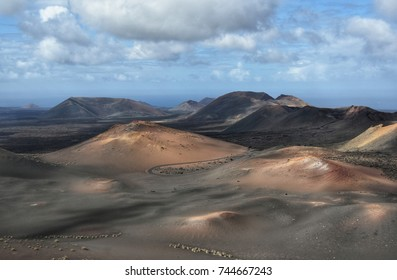 timanfaya volcanic national park on lanzarote canary island in spain