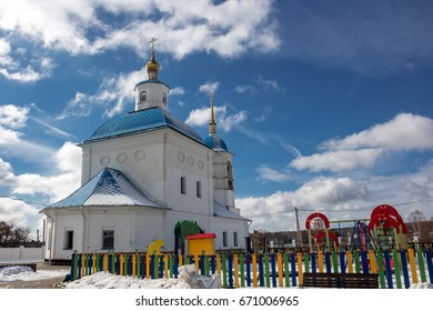 "TIMASHOVO, RUSSIA - MARCH 2016: ""Hram Rozhdestva Presvyatoy Bogoroditsy"". Church of the Nativity of the Blessed Virgin in the village of Timashovo, Borovsky district, Kaluga region"