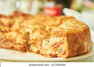 Timballo typical Italian food based on secret family recipe handed down by generations from Abruzzo Teramo region of Italy.