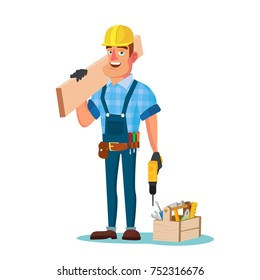 Timber Frame House Construction Worker. Construction Worker On Framing A Building. Isolated Flat Cartoon Character Illustration