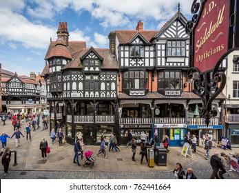Timber framed buildings in High Street, Chester, UK taken on 15 May 2017