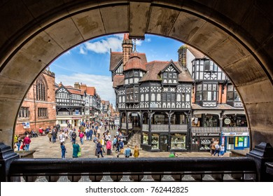 Timber framed buildings in High Street, Chester, UK on 13 May 2017