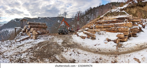 Timber harvesting with skyline crane and manipulator in wintry forest in Styrian low mountain range of the Alps.
