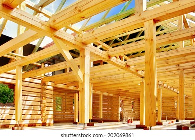 Timber house in building process