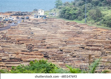 Timber port of Owendo near Libreville. Here, the Okoume trees are shipped internationally to Europe, and the rest of the world