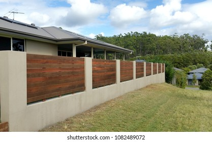 Timber and Rendered Fence in Australian Residential Estate