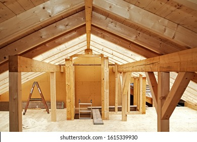 The Timber Roof Truss  of a New Half-timbered Building