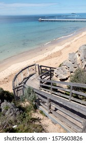 Timber stairs down to the beac at Point Lonsdale Victoria Australia